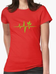 Heartbeat, Pulse Green, Vegan, Frequency, Wave, Earth, Planet Womens Fitted T-Shirt