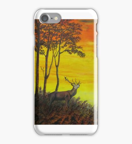 Red Stag at Night iPhone Case/Skin