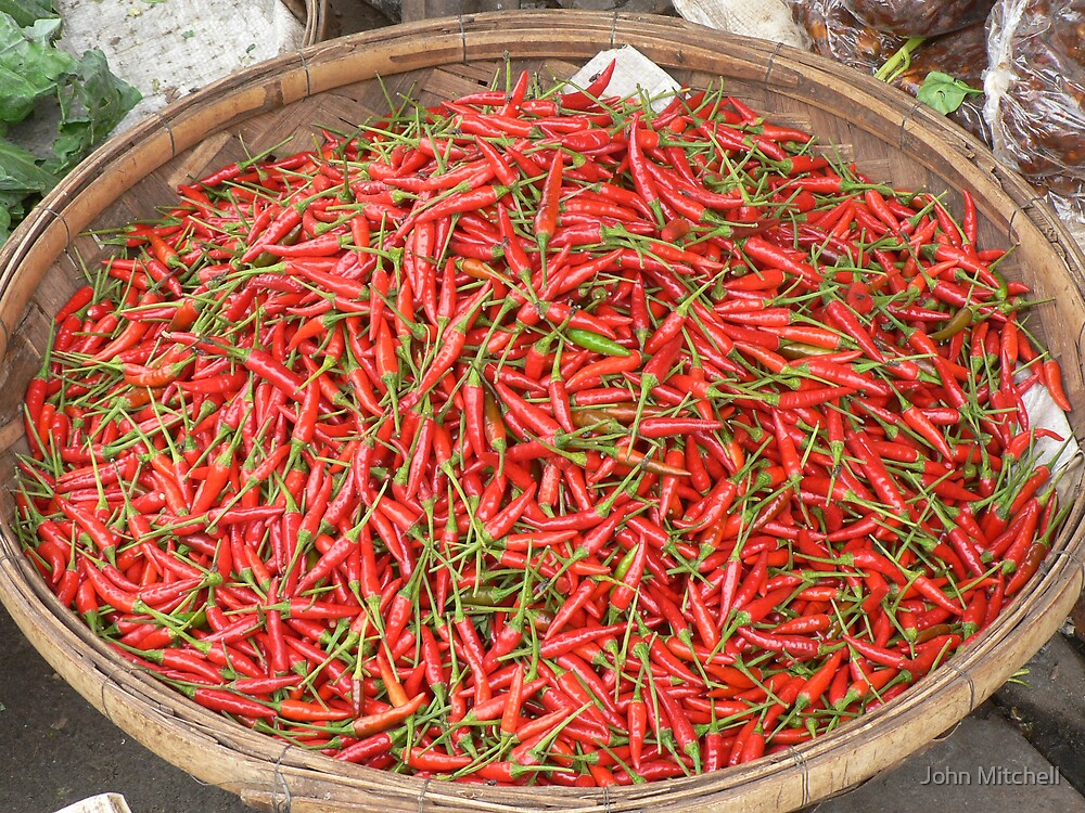 Chilis for sale in a market at Phnom Penh, Cambodia by John Mitchell