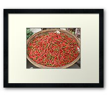 Chilis for sale in a market at Phnom Penh, Cambodia Framed Print