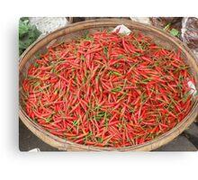 Chilis for sale in a market at Phnom Penh, Cambodia Canvas Print