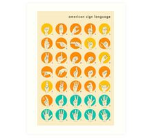AMERICAN SIGN LANGUAGE HAND ALPHABET Art Print