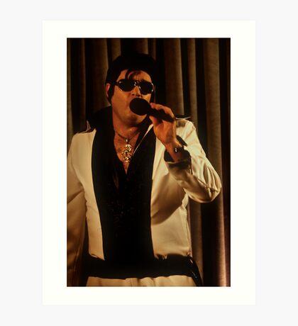 Canberra Elvis - White Suit - ms - Singing  Art Print