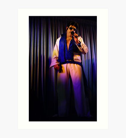 Canberra Elvis - White Suit - Down - LS - Singing  Art Print