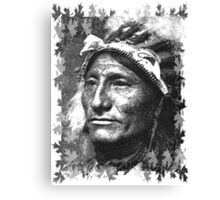 Vintage Native American Portrait In Black and White Canvas Print