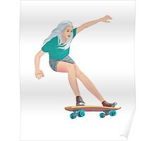 Skateboard chick blond Poster