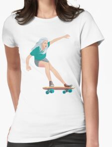 Skateboard chick blond Womens Fitted T-Shirt