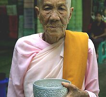 Buddhist nun, Rangoon, Burma. by John Mitchell