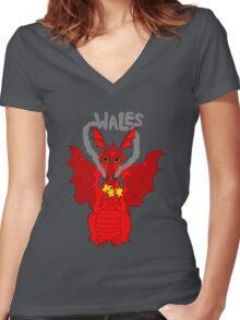 Welsh Dragon with daffodils Women's Fitted V-Neck T-Shirt