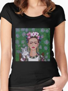 Frida cat lover closer Women's Fitted Scoop T-Shirt