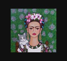 Frida cat lover closer Womens Fitted T-Shirt