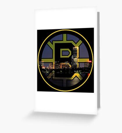 Bruins Spoked B & Boston Skyline Greeting Card