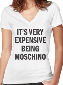 IT'S VERY EXPENSIVE BEING MOSCHINO Women's Fitted V-Neck T-Shirt