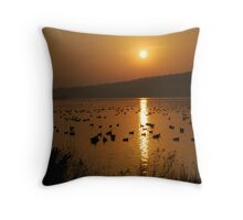 Sunrise with the Flock Throw Pillow