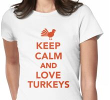 Keep calm and love turkeys Womens Fitted T-Shirt