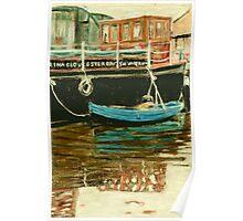 Blue boat - Gloucester Docks, England Poster
