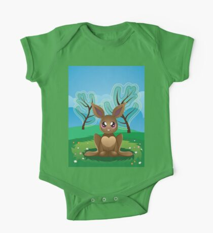 Brown Rabbit on Lawn 2 One Piece - Short Sleeve