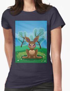Brown Rabbit on Lawn 2 Womens Fitted T-Shirt