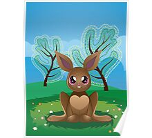 Brown Rabbit on Lawn 2 Poster