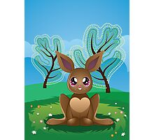 Brown Rabbit on Lawn 2 Photographic Print