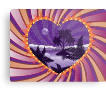 Tropical island in a heart Metal Print