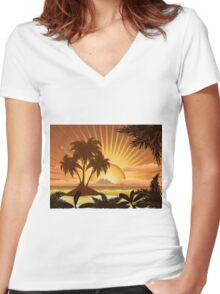Sunset tropical island Women's Fitted V-Neck T-Shirt