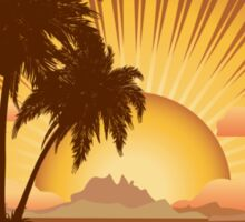 Sunset tropical island Sticker
