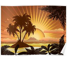 Sunset tropical island Poster