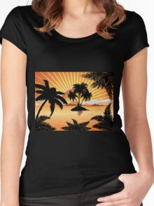 Sunset tropical island 2 Women's Fitted Scoop T-Shirt