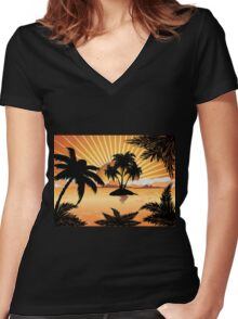 Sunset tropical island 2 Women's Fitted V-Neck T-Shirt