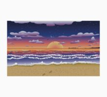 Sunset on tropical beach Kids Clothes