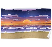 Sunset on tropical beach Poster