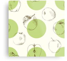 seamless pattern made of scattered decorative apples Metal Print