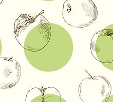 seamless pattern made of scattered decorative apples by OlgaBerlet
