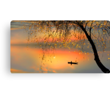 Fishing Sunset Canvas Print