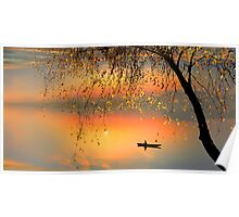 Fishing Sunset Poster