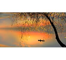 Fishing Sunset Photographic Print