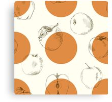 seamless pattern made of scattered decorative apples Canvas Print