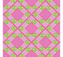 Primroses and Pink Check Gingham Faux Patchwork Photographic Print