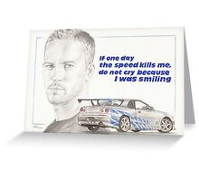 Paul Walker Greeting Card