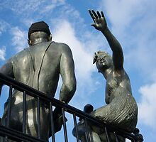 "Sculpture named ""people like us"", in Cardiff Bay by Sue Martin"