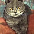 WILD-ORANGE-EYED KARTHAEUSER CAT on red Pillow  by RubaiDesign