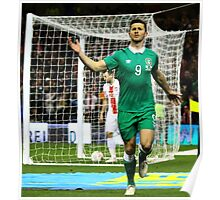 Shane Long celebrates scoring for Ireland Poster