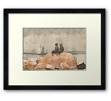 Winslow_Homer_- Two boys watching schooners, 1880 Framed Print