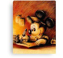 Disney - Mickey Mouse Writing Canvas Print