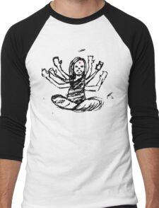 Hindu Jesus Scribble Doodle Men's Baseball ¾ T-Shirt