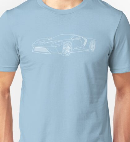 2016 Ford GT, Forza 6 Motorsport Game Cover Car, White no Fill Unisex T-Shirt