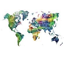 Map of the world geometric Photographic Print