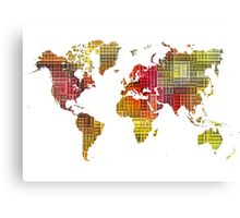 Map of the world colored cube Canvas Print