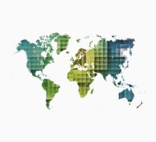 Map of the world green cube Kids Clothes